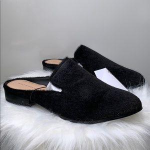 NWTs WWW • Faith Black Slide Faux Hair Mules Shoes